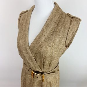 Milly of New York Tweed Belted Dress Size 4 Gold